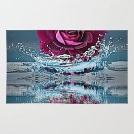 PURPLE ROSE FALLING IN  POND WATER Rug
