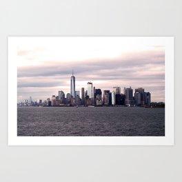 New York City skyline at sunset Art Print