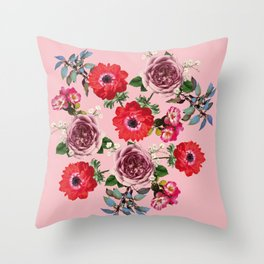 Flowers Roses Spring Blossom in Pink Throw Pillow
