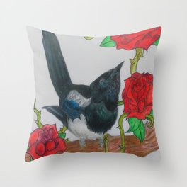 Magpie and Tattoo Roses Throw Pillow