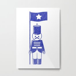 French toy soldier standard-bearer, drawing with letterpress effect. Metal Print
