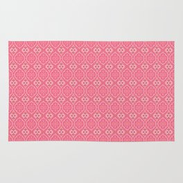 coral pink Moroccan Boho Ogee Rug