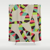arya Shower Curtains featuring Abstract Vintage Art by Hinal Arya