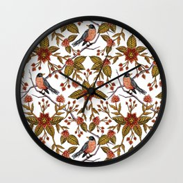 New Beginnings - Spring/Summer Floral Pattern With Robins, Branches & Flowers Wall Clock