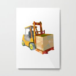 Forklift Truck Materials Handling Box Low Polygon Metal Print