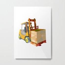 Forklift Truck Materials Handling Box Low Polygon Metal Print