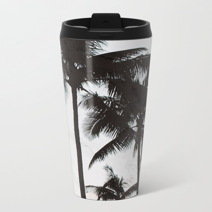 Velvet Palm trees on marble Metal Travel Mug