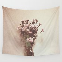vintage flowers Wall Tapestries featuring Abstract Vintage Flowers by Victoria Herrera