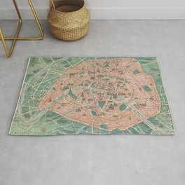 Vintage Paris Map France Rug