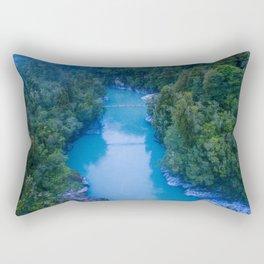 george river blue crazy vertical drone shot over bridge in new zealand Rectangular Pillow