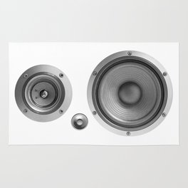 Subwoofer Speaker on white Rug