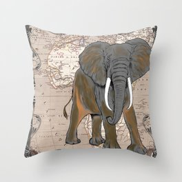 African Elephant Vintage Map Throw Pillow