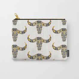 Water Buffalo Skull – Black & Yellow Carry-All Pouch