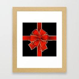 Red Bow on black Framed Art Print