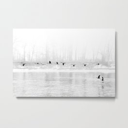 Canadian Geese flying formation  over the river through the fog Metal Print