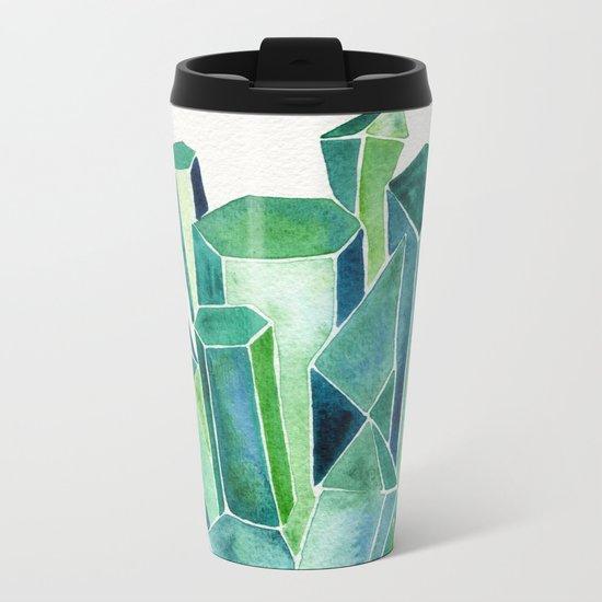 Emerald Watercolor Metal Travel Mug