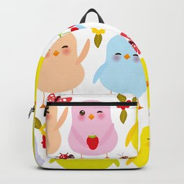 Kawaii colorful blue green orange pink yellow chick Backpack