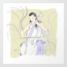 Cellist playing lavender notes Art Print