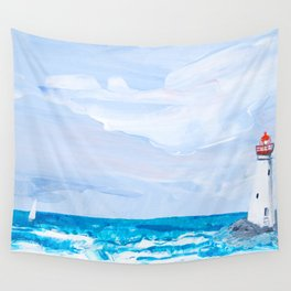 Rounding the Lighthouse Wall Tapestry