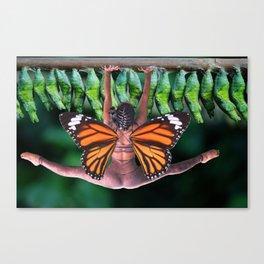 Rebekah Takes Flight - Collage Art - Butterfly Yoga Goddess Rising Canvas Print