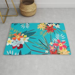 Frangipani, Lily Palm Leaves Tropical Vibrant Colored Trendy Summer Pattern Rug