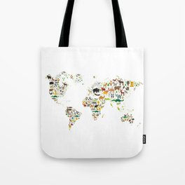 Cartoon animal world map for children and kids, Animals from all over the world on white background Tote Bag