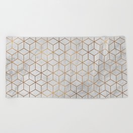 Marbled Copper Cubes Beach Towel