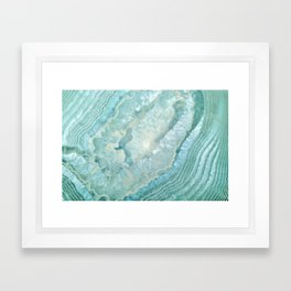 """Aquamarine Pastel and Teal Agate Crystal"" Framed Art Print"