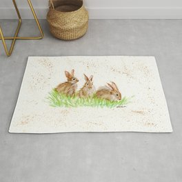 Hoppy Trio Bunnies - animal watercolor painting of rabbits Rug