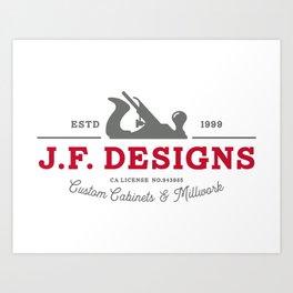 J.F. Designs 2 Color Logo Art Print