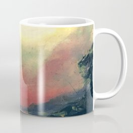 Old Acrylic Red Sunset Paint Coffee Mug