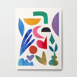 'Aimless Memory' Abstract Colorful Paper Collage Mid Century Fun Retro Style by Ejaaz Haniff Metal Print