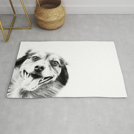Dog peeking Black & White Rug