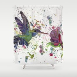 ... Hummingbird With Flower Shower Curtain ...