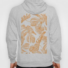Island Vacation Hibiscus Palm Leaf Coral Orange Hoody