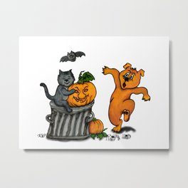Happy Halloween with Cat, Bat, Dog and Spider Metal Print