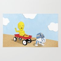 c3po Area & Throw Rugs featuring SW Kids - C3PO & R2D2 Red Wagon by Nixon Graphix
