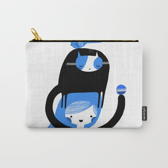 BLUE BIRD AND CAT ON HEAD Carry-All Pouch