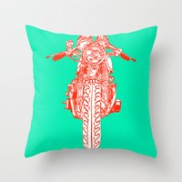 cafe racer Throw Pillows featuring Cafe Racer front view by Paul McCreery