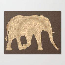 Bohemian Elephant Mandala A395 Canvas Print