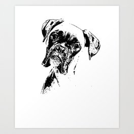BOXER DOG FACE product - DOG LOVERS BOXER DOG GIFT design Art Print