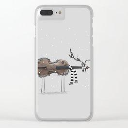 Christmas Violin Reindeer Clear iPhone Case