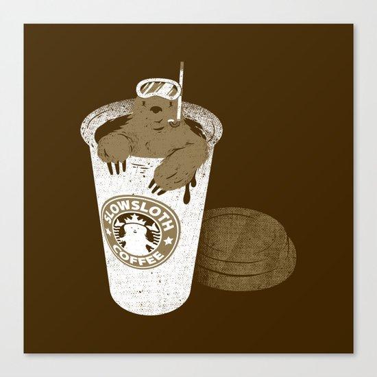 SlowSloth Coffee Dive Canvas Print