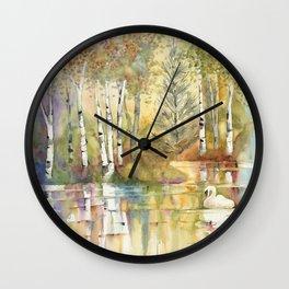 Lazy Day on Swan Lake Wall Clock