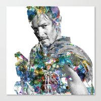 daryl dixon Canvas Prints featuring Daryl Dixon by NKlein Design