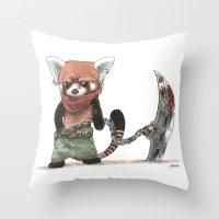 bouletcorp Throw Pillows featuring Panda Roux Barbare by Bouletcorp