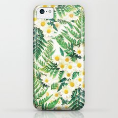 Textured Vintage Daisy and Fern Pattern  iPhone 5c Slim Case