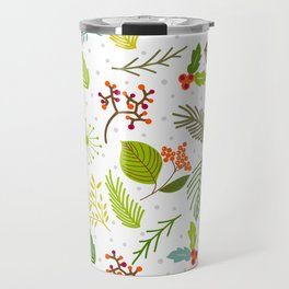 Falling forest leaves with snowflakes Travel Mug