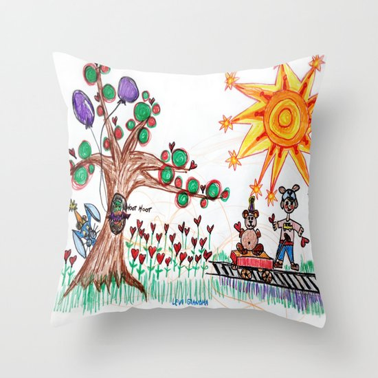 :: Hearts for Blue Bunny :: Throw Pillow