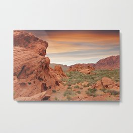 Desert mountains with open sandy area and small plants and rocks Metal Print